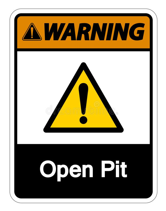 Warning Open Pit Symbol Sign Isolate On White Background,Vector Illustration royalty free illustration