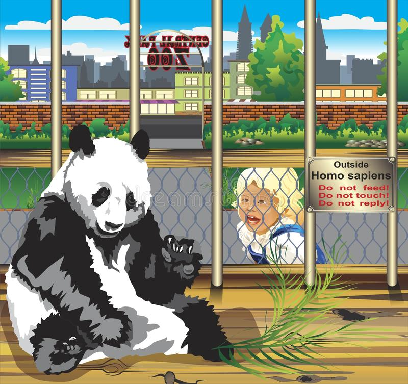 Warning from the panda in a cage. The child looks at a panda in a cage