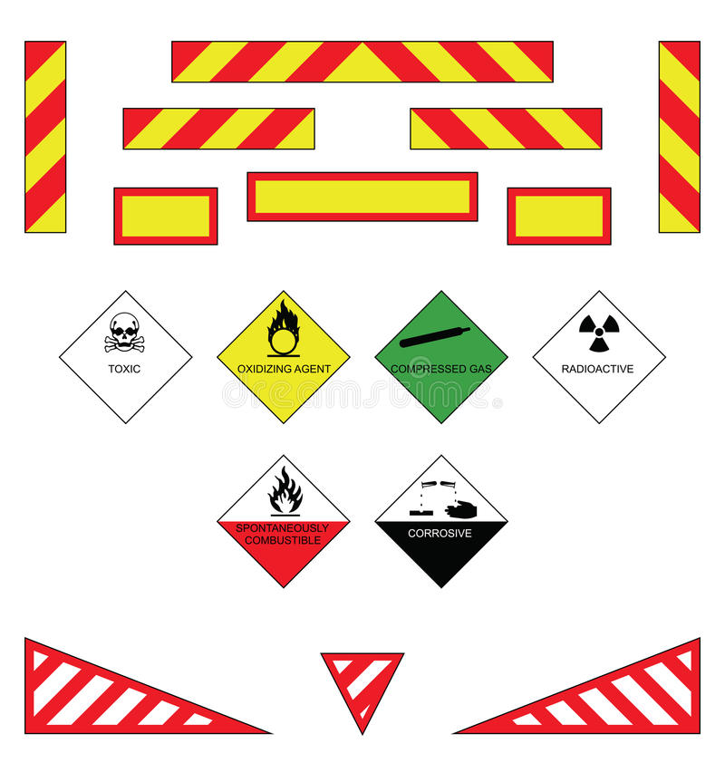 Warning plates. Large goods vehicle rear markings and warning plates stock illustration