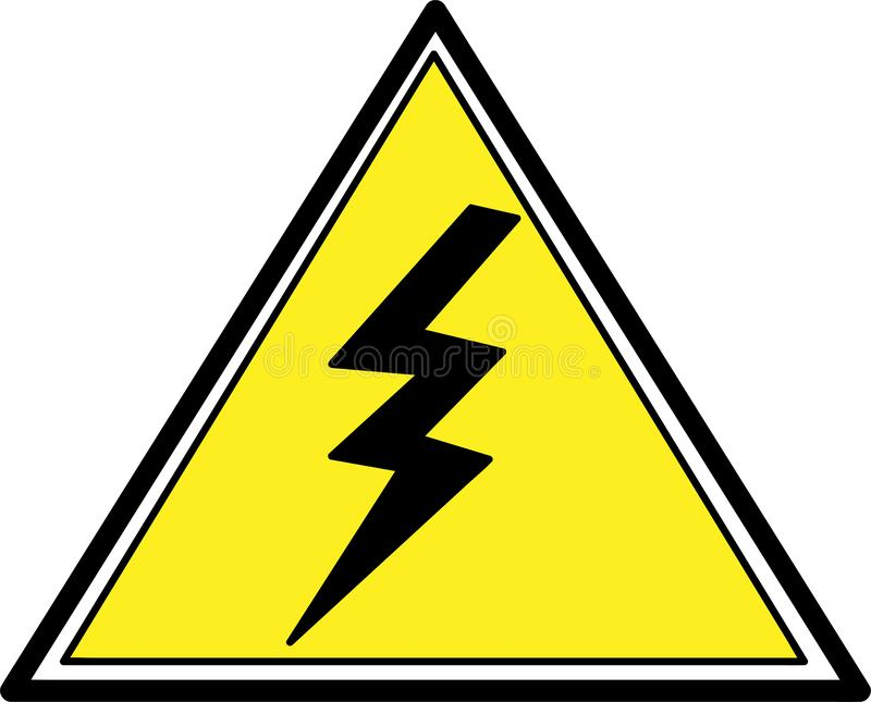 Power outage, warning poster in yellow and black  triangular icon of electricity royalty free illustration