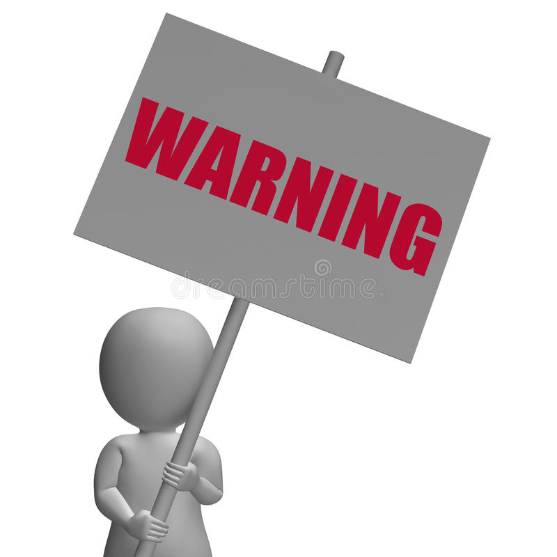 Warning Protest Banner Means Precaution And. Warning Protest Banner Meaning Precaution Alertness And Forewarn stock illustration