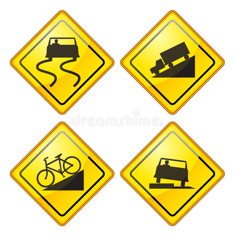 Warning Road Sign Glossy. Set of warning Road Sign Glossy vector illustration