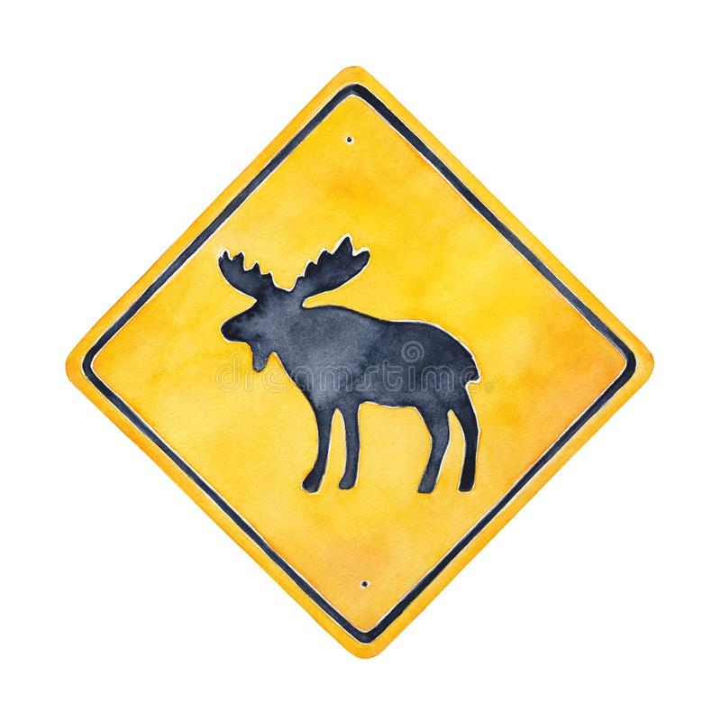 Warning road sign illustration with wild moose character silhouette. Square shape, bright yellow color with black border. Handdrawn watercolour painting, cutout vector illustration