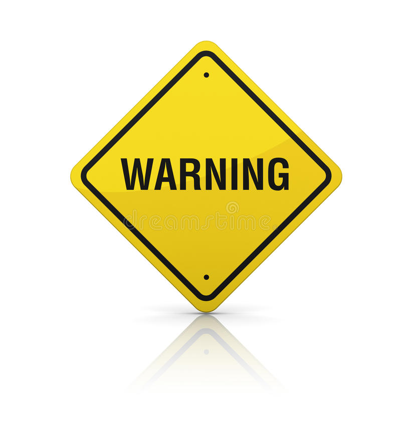 Warning Road Sign. Three dimensional illustration of Road Sign with Warning text stock illustration