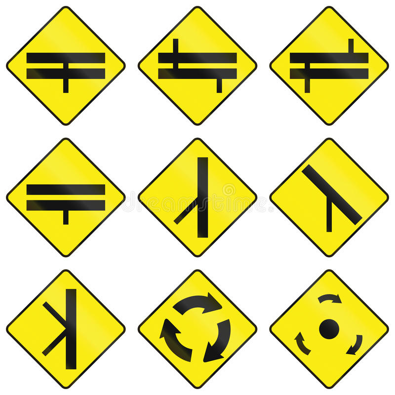 Warning Road Signs In Ireland. Collection of Warning road signs in Ireland royalty free illustration
