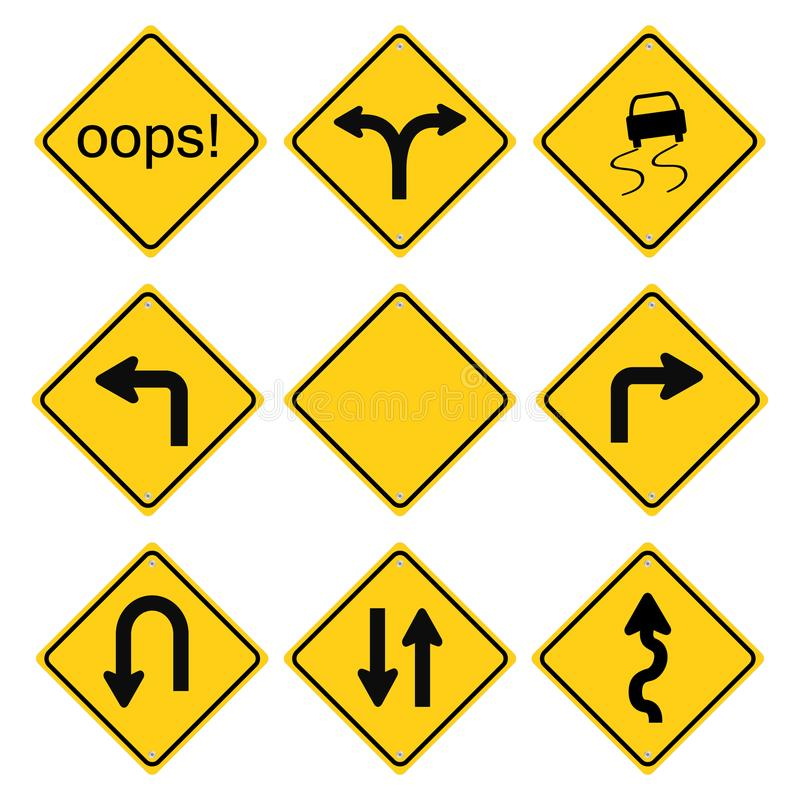 Warning road signs set. Warning traffic road signs set vector isolated on white background royalty free illustration