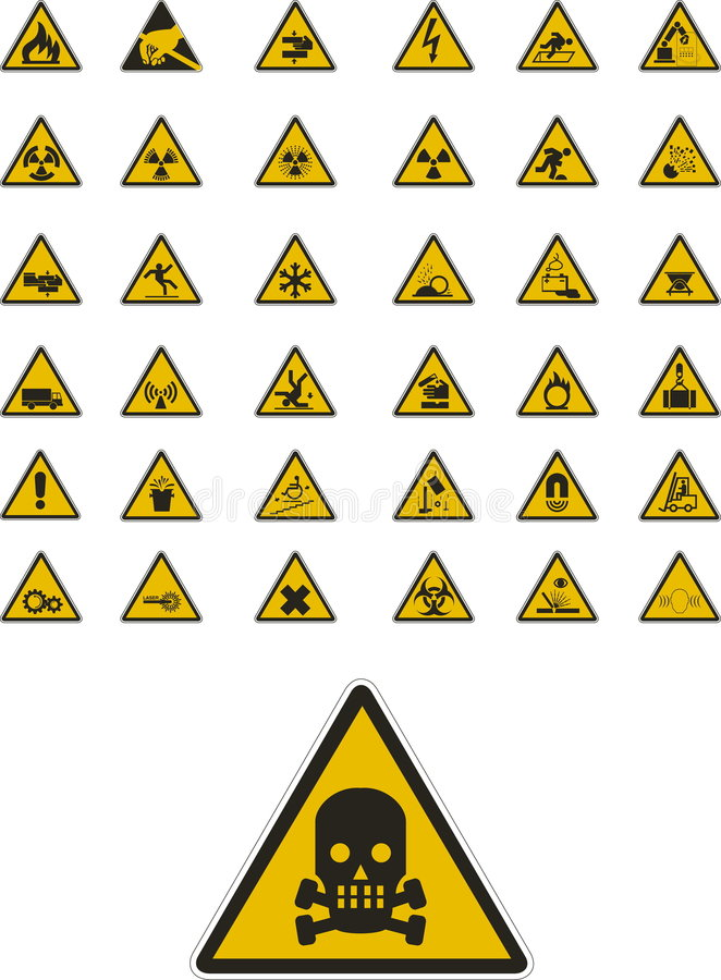 Warning and safety signs royalty free illustration