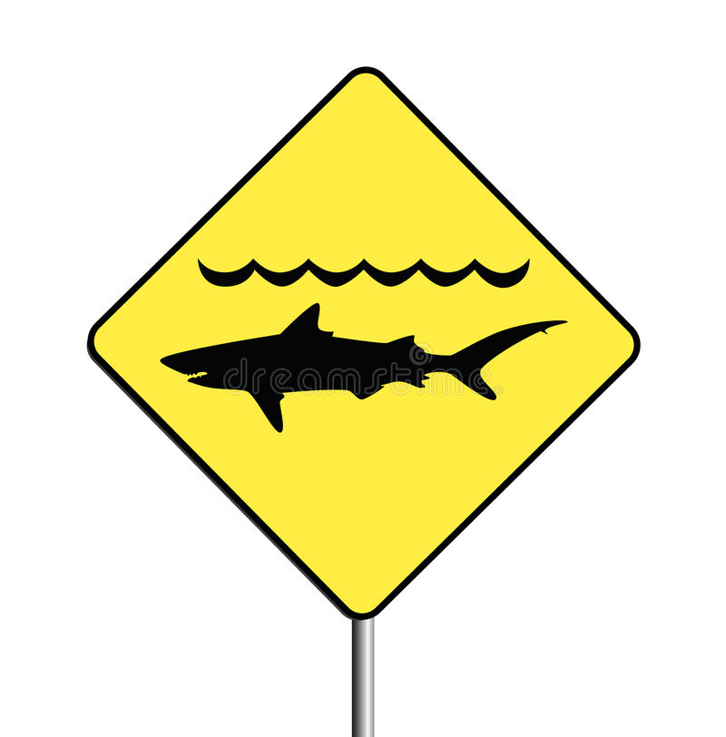 Warning, sharks sign royalty free illustration