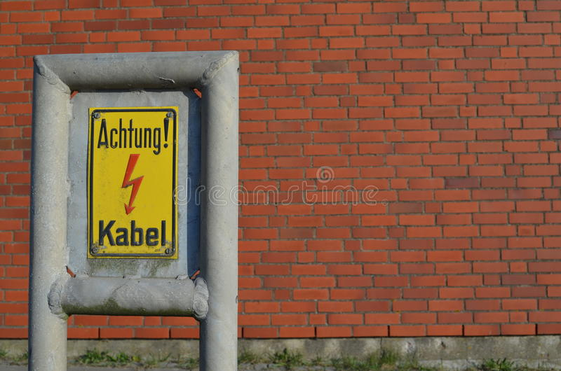 Download Warning Sign: Achtung Kabel / Caution Cable Stock Image - Image: 24640929