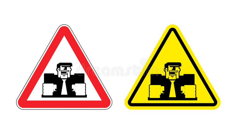 Warning sign of attention angry boss. Dangers yellow sign of violence at work. Ferocious director on red triangle. Set of road si royalty free illustration