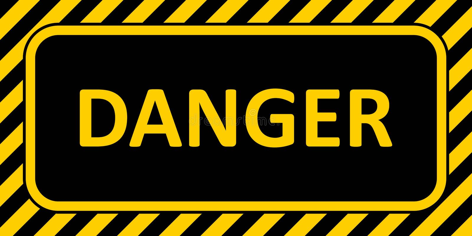 Warning Sign banner danger, with a striped frame horizontal badge text danger yellow and black color vector illustration