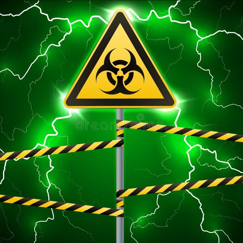 Warning sign. Biological hazard. Fenced danger zone. A pillar with a sign. Thunderbolts. Outbreak sparks. Fantastic background. Ve stock illustration