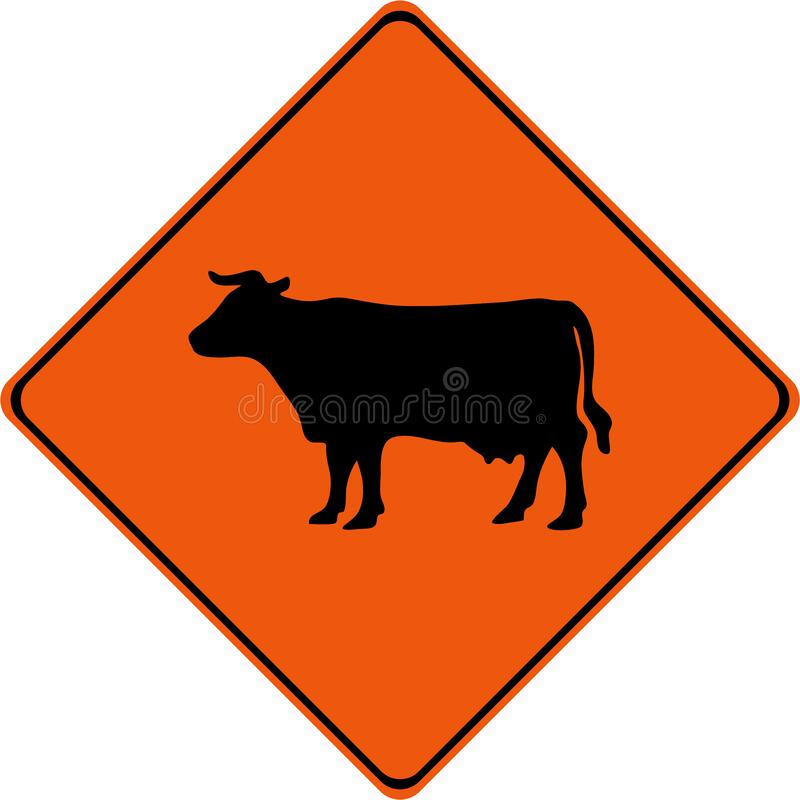 Warning sign with cattle on road stock photo