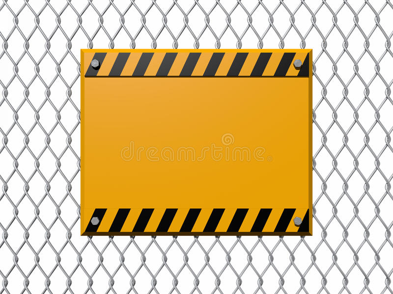 Warning sign on Chainlink. A blank warning sign bolted to a chainlink fence stock illustration