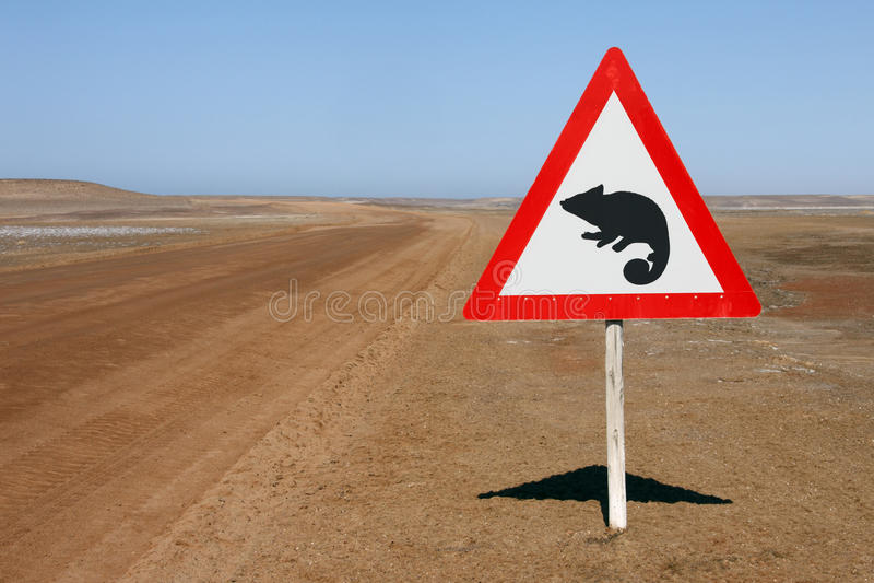 Download Warning Sign - Chameleons - Namibia Stock Photo - Image: 23186112