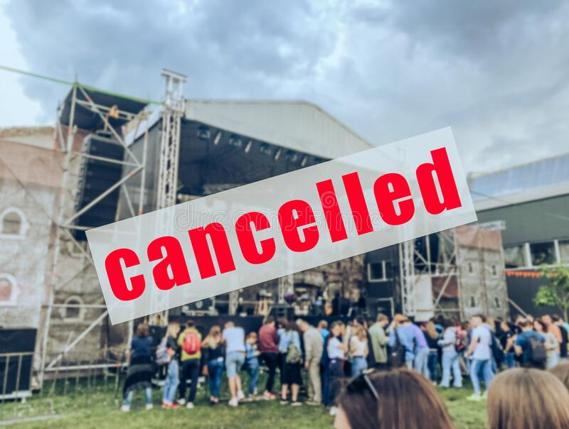 A warning sign that a concert or other event has been canceled.  royalty free stock photography
