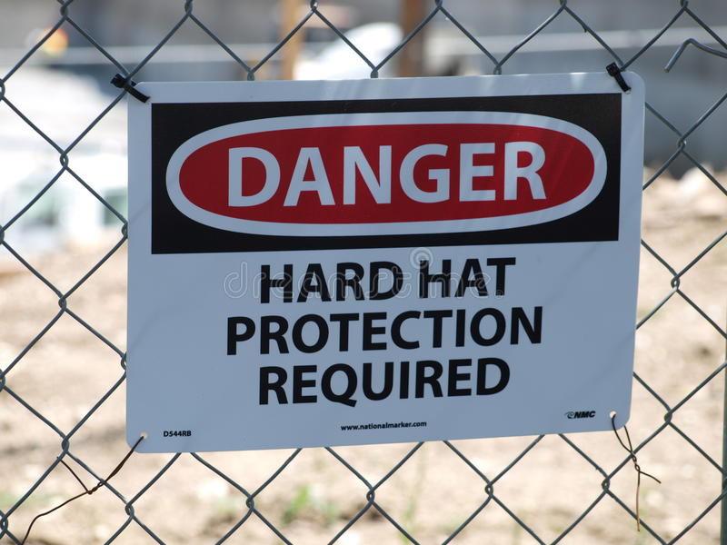 Warning Sign on Construction Site stock images
