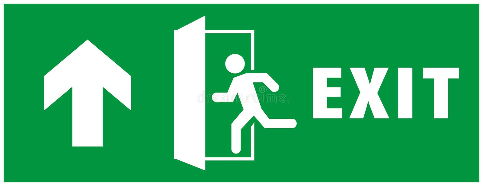 Emergency exit sign. running man icon to door. green color. arrow vector. warning sign plate vector illustration