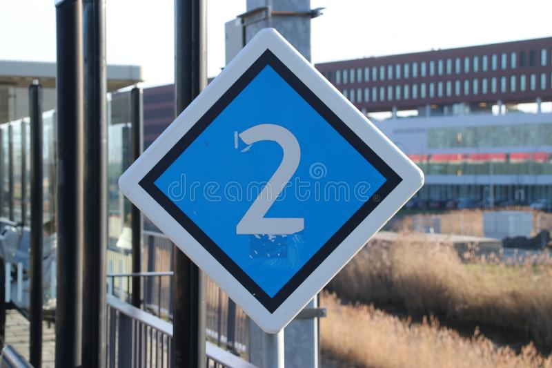 Warning sign for driver where to stop based of number of wagons at train station Den Haag Ypenburg in The Hague in the Netherlands stock images