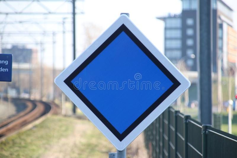 Warning sign for driver where to stop based of number of wagons at train station Den Haag Ypenburg in The Hague in the Netherlands royalty free stock photo