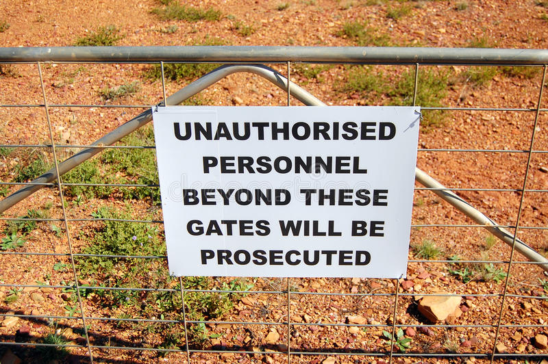 Download Warning Sign On Fence In Australia Stock Image - Image: 26418813