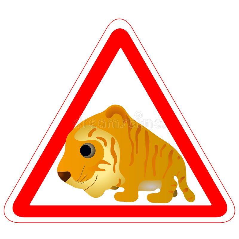 Warning Sign With A Funny Tiger Royalty Free Stock Images