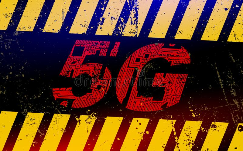 Warning sign with a 5Gg. Concept of danger of use 5G network. New generation of networks. Warning sign with a 5Gg. Concept of danger of use 5G network stock images