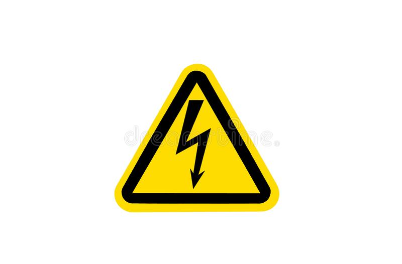 Warning sign of high voltage, yellow triangle with black arrow. stock photos