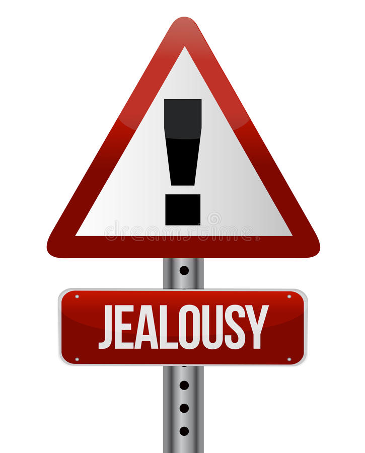 Warning sign with a jealousy royalty free illustration