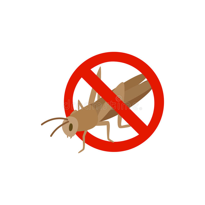 Warning sign with locust icon, isometric 3d style stock illustration