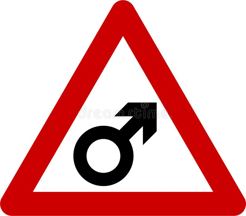 Warning sign with male vector illustration