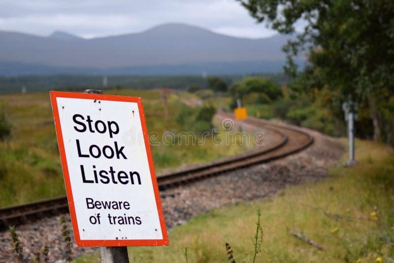 Warning sign nea rannoch moor stock image