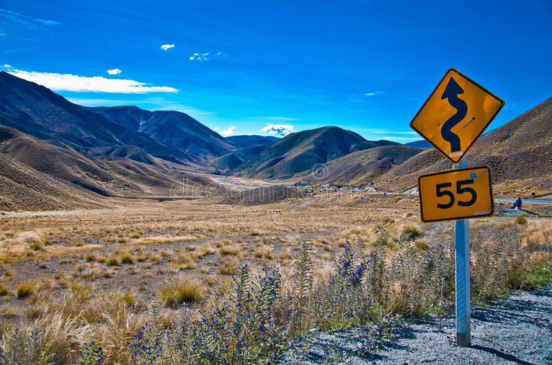 Warning sign in New Zealand stock photo