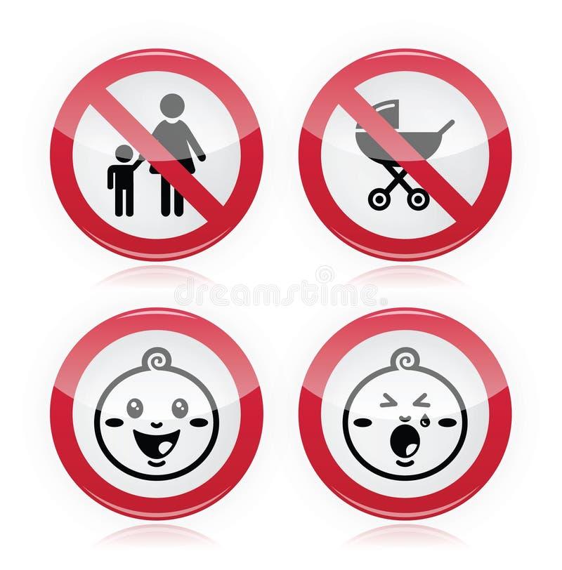 Warning sign: no babies, no children. Prohibited: kids, babies red modern sign stock illustration