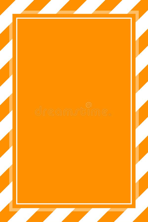 Warning sign orange white stripe frame template background copy space, banner frame striped awning orange, stripe frame. The warning sign orange white stripe vector illustration