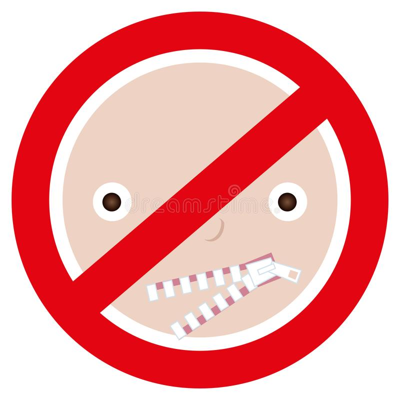 Warning sign of person restricting mouth shut up unclosed zipper. Concept of restricted expression, silence, anonymity, no gossip. Isolated on white background royalty free illustration