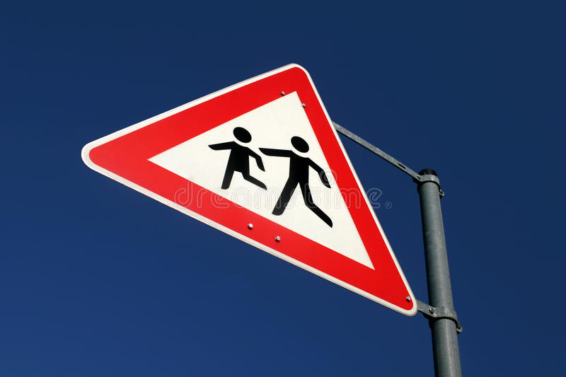 Download Warning Sign With Playing Childs Stock Image - Image: 12577313