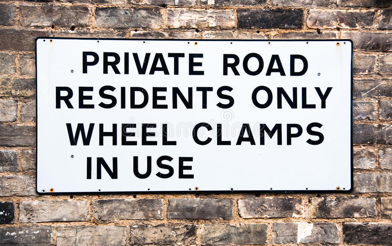 Warning Sign For Private Road Stock Image