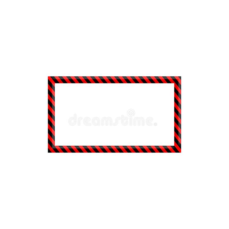 Warning sign red and black stripe frame. stock illustration