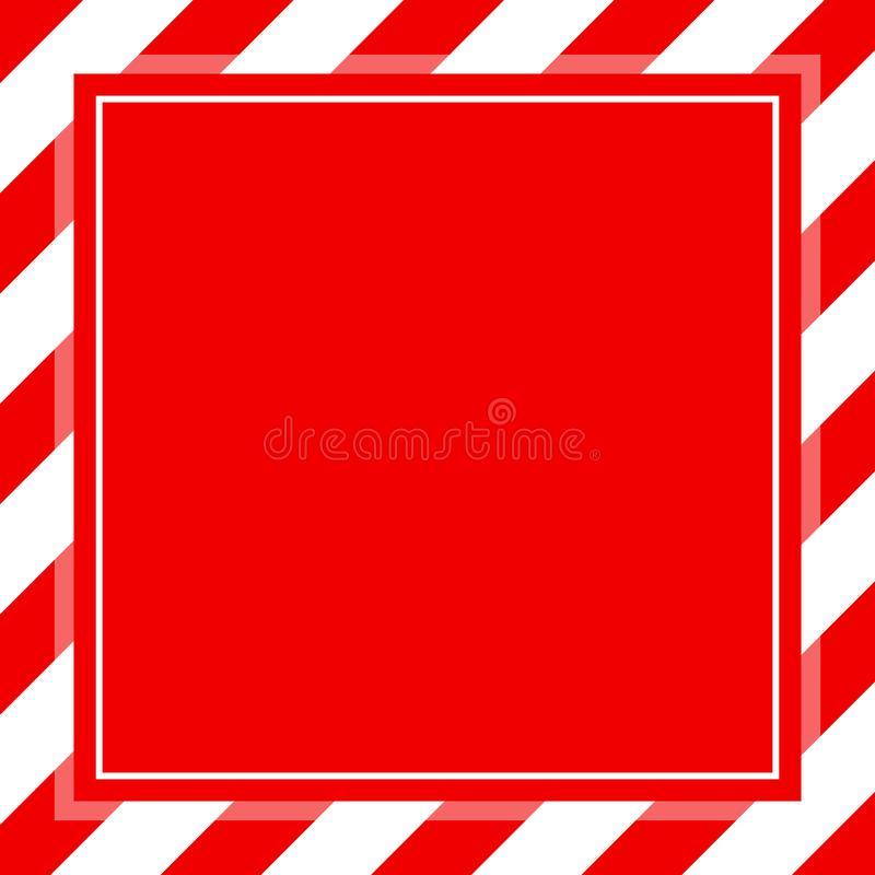 Warning sign red white stripe frame template background copy space, red banner frame striped awning, red white stripe frame. The warning sign red white stripe royalty free illustration