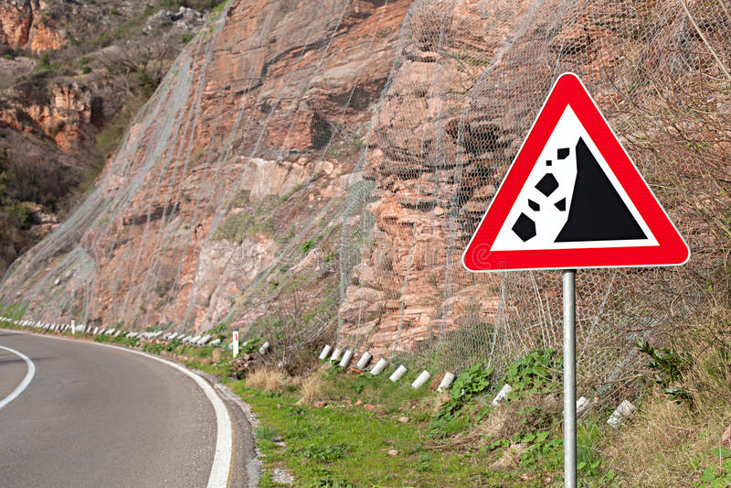 Warning sign rockfall royalty free stock images
