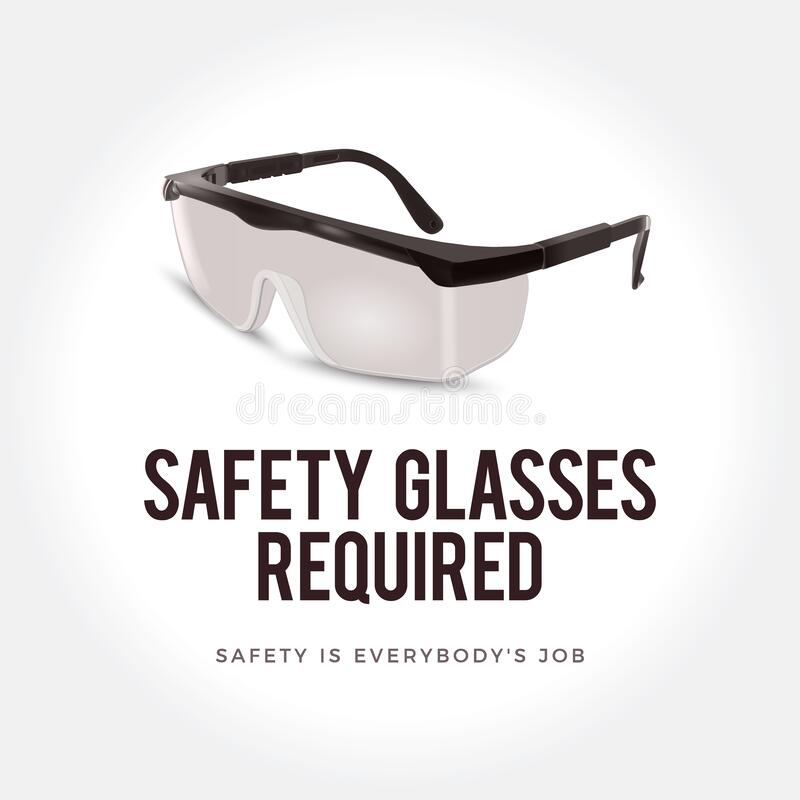 Warning sign - Safety glasses required. Plastic safety glasses. Safety glasses as a symbol of personal protection royalty free illustration