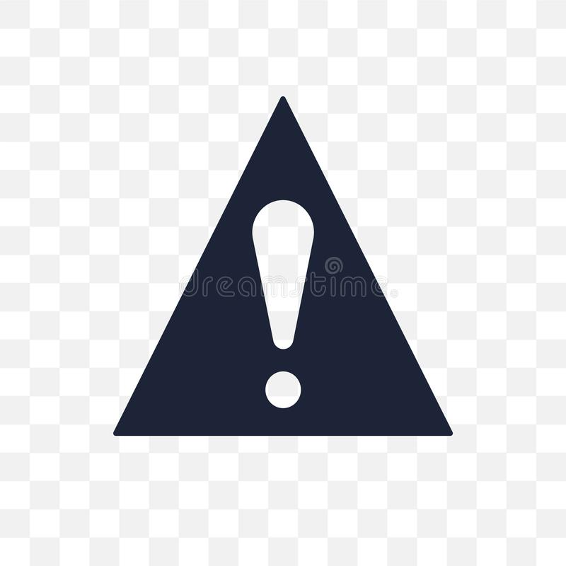 Warning sign transparent icon. Warning sign symbol design from T. Raffic signs collection. Simple element vector illustration on transparent background royalty free illustration