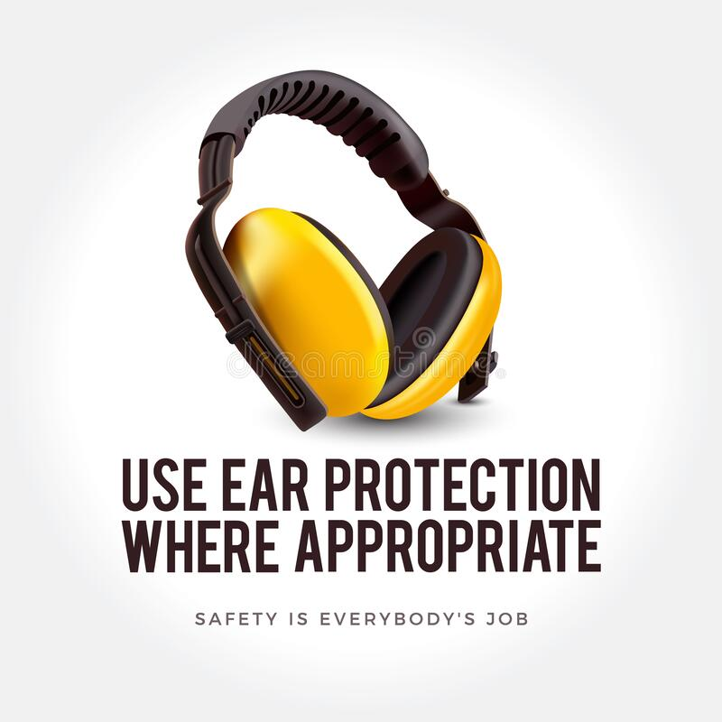 Warning sign - Use ear protection where appropriate. Safety yellow earphones. Yellow safety earphones as a symbol of personal protection vector illustration