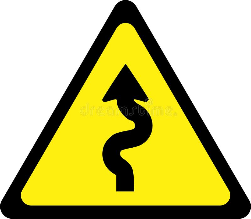 Warning sign with winding road. Symbol stock illustration