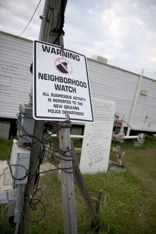 Download Warning Sign In Yard After Hurricane Katrina Stock Image - Image: 12247747