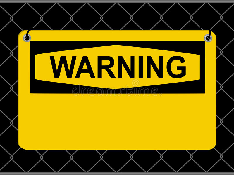 Warning sign. Yellow and Black Warning Sign With Blank Area Over Metallic Net stock illustration