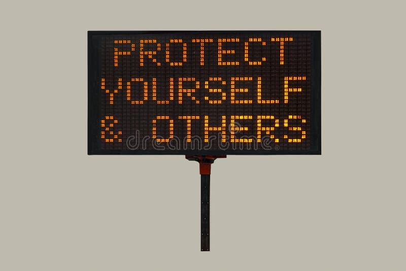 Warning signage during Corona Virus Pandemic royalty free stock image
