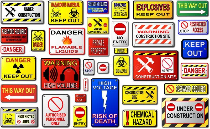 Warning Signs. Warning Sign Vectors. Keep Out, Danger, Construction Site royalty free illustration