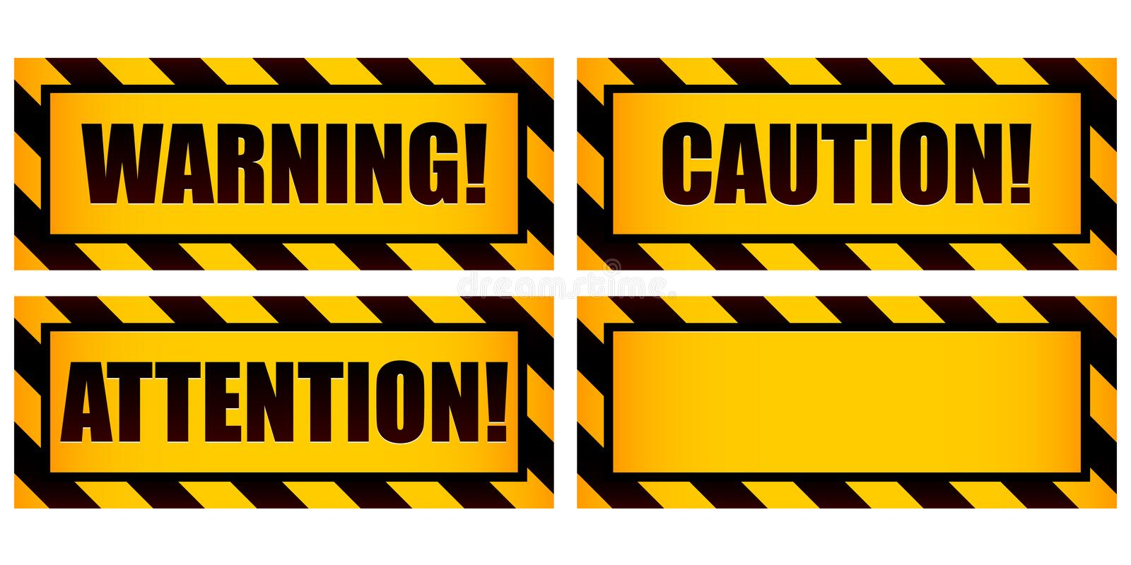 Warning Signs. A set of four warning labels including one left intentionally blank for use as a template